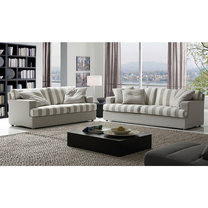 Grey stripe fabric sofa with soft cushion