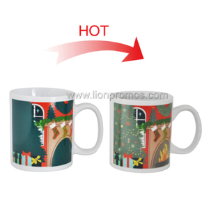 Christmas Gift Heat Sentive Color Change Ceramic Cafe Cup