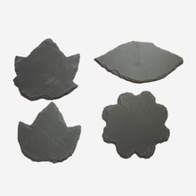 leaf shape natural slate stone placemat and coaster