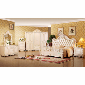 W809 Classic Bedroom Furniture Set with Antique Bed and Wardrobe