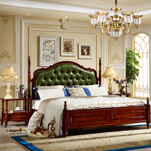 Bedroom Set with Wood Bed and Dresser