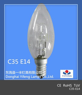Eco Energy Saving C35 18W, 28W, 42W, 52W, 70W, 100W Halogen Bulb with CE, RoHS Approved