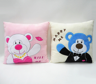 Valentine Plush Cushion Pillow Animal Cartoon Embroidered Cushion