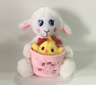 Plush Easter Sheep with Baby Chicken Plush Made in China