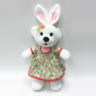 Cuty White Rabbit Plush Toys with Floral Dress