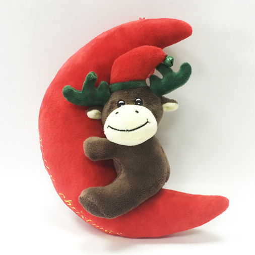 Soft Big Red Moon Shaped with Deer Plush Toy