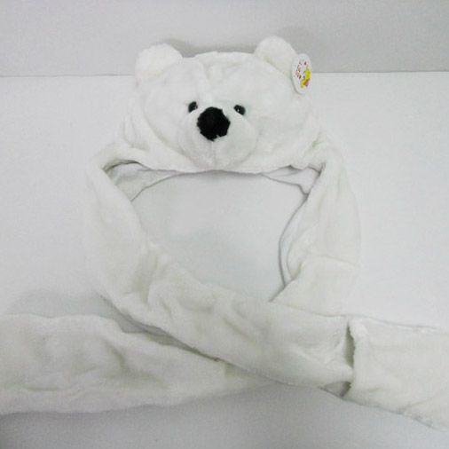 Soft Plush Toy White Bear Winter Hat for Kids