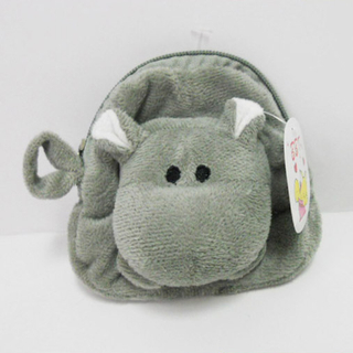 Cute Soft Plush Hippo Shaped Coin Purse for Kids
