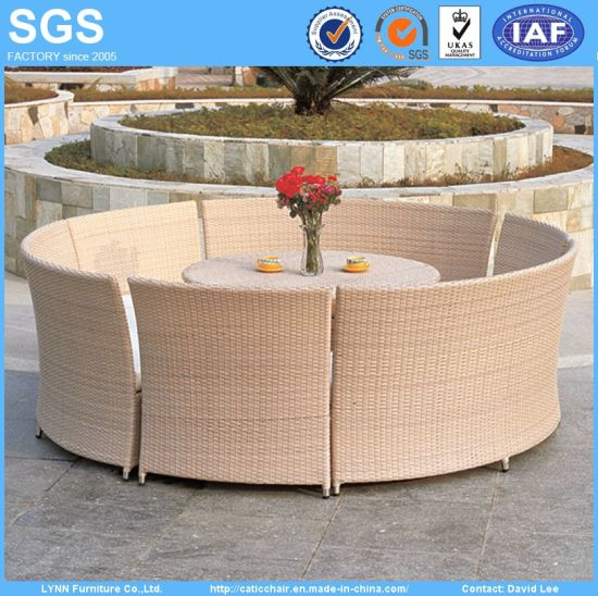 Outdoor Dining Set Round Rattan Table and Chairs