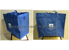 Non Woven Zipper Bag Blue with Side Bag (LYZ01)