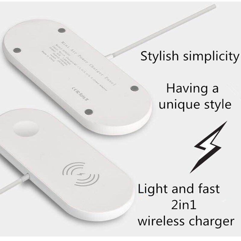 New 2in1 Universal Wireless Charger QI Wireless Fast Charger for IPhone Fast Wireless Charger for Cell Phone Desktop Wireless Charger for IWatch