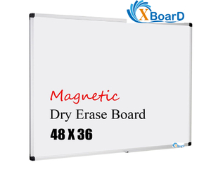 XBoard Magnetic Whiteboard 48 x 36, White Board 4 x 3, Dry Erase Board with Detachable Marker Tray