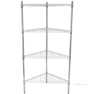 Chrome Wire Triangle Unit With 4 Shelves Storage Use