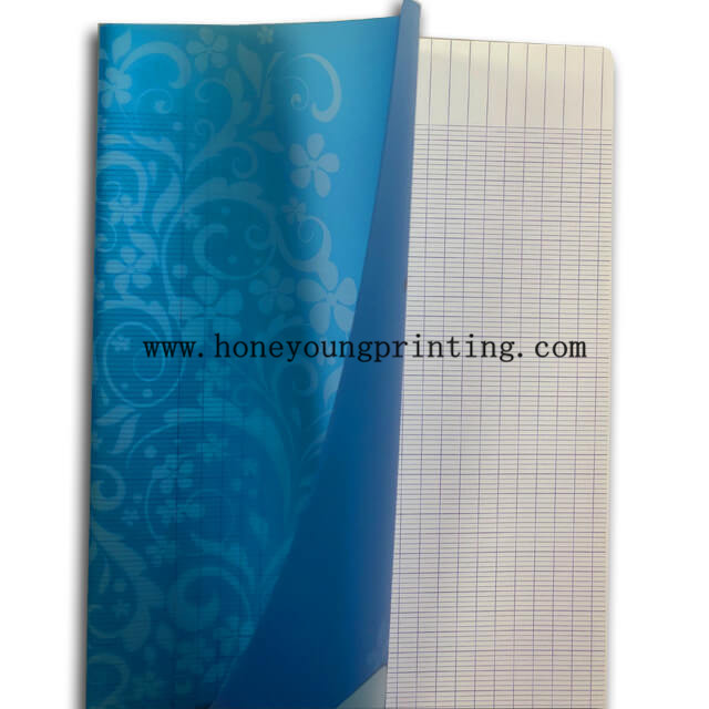 A4 size PP cover seyes 96 pages notebook staple binding corner rounding assorted designs