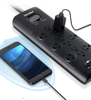 Surge Protector 12 Outlets 3 USB Ports Black