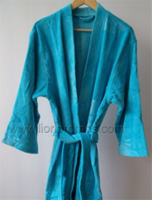 Logo Embroidery Hotel/Resorts Cotton Velvet Toweling Bathrobe