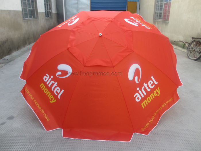 Telecom Logo Outdoor Vendor Promotional Gift Oxford 210D Wine Proof Parasol