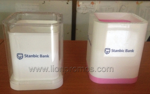 Bank Logo Printed Promotional Item Acrylic Pen Holder