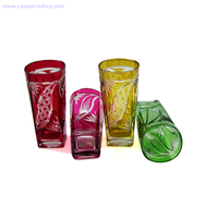 New design colorful square leaf pattern drinking beer glass tumbler