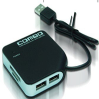 USB Card Reader and Hub Combo