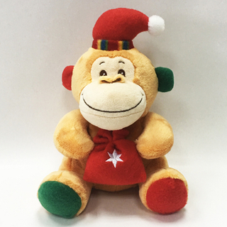 Custom Christmas Brown Stuffed Animal Soft Plush Monkey