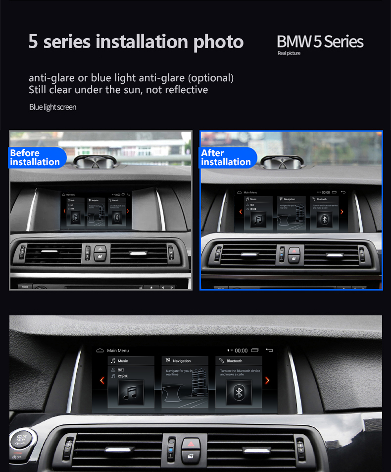 "Bmw 5 F10 F11 10.25""Car Stereo Anti-Glare Android DAB+ AUX USB Apple Cplayer"