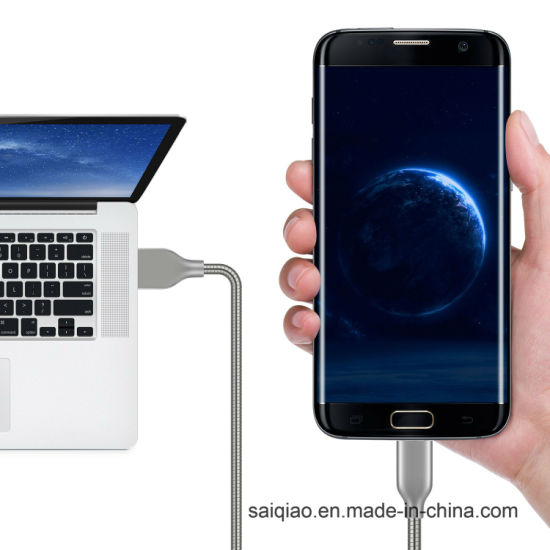 Zinc Alloy Steel Pipelines Charging Data USB Cable for Huawei