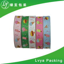Custom printed solid color packing cakes grosgrain ribbons