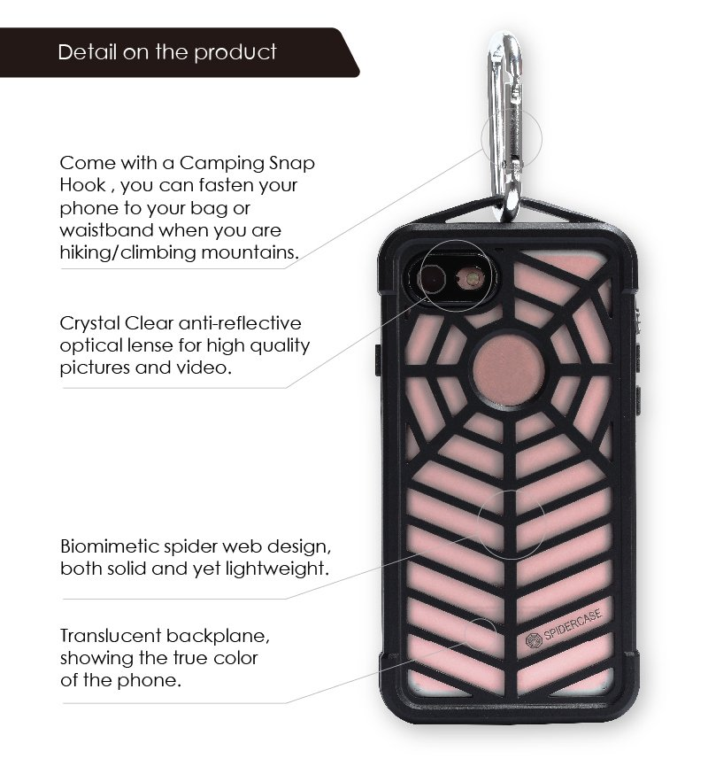 Spider Design Back Metallization Waterproof Cell/Mobile Phone Case for iPhone 7
