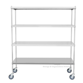 4 Tiers flat rack stainless steel solid shelf mobile work table for Medical / Hospital Storage