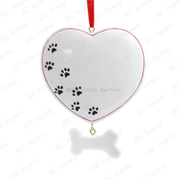 Heart With Bone Ornament Personalized Christmas Tree Ornament