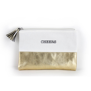 Gold Elegant Cotton Canvas Makeup Bags