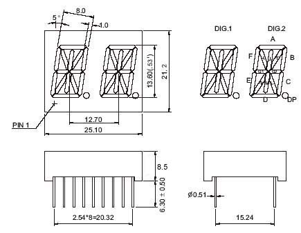 0 53 inch dual digit 14 segment display