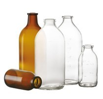 100 ml infusion bottle, clear, type II moulded glass