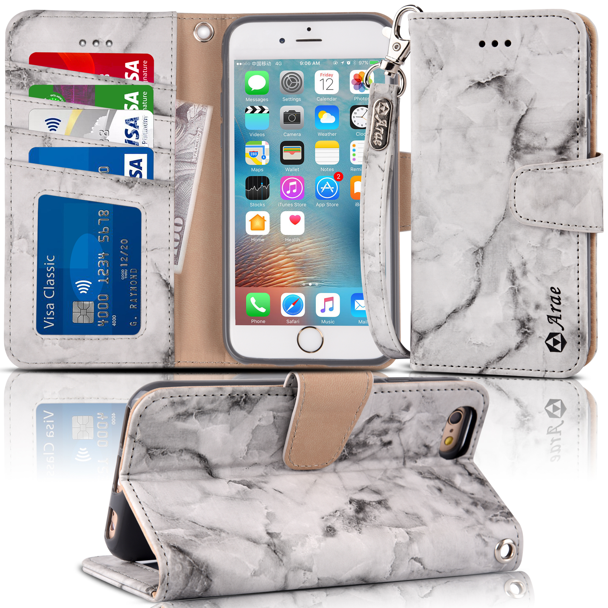 Iphone 6s / 6 New Sytle Wallet Leather Case with Kickstand And Card Slots The Upgraded Version Wallet Case for Iphone 6s / 6,rosegol,Marble black