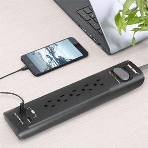 HOLSEM Surge Protector 5 Outlets with 2 USB Ports 4 ft cord Power Strip, Black