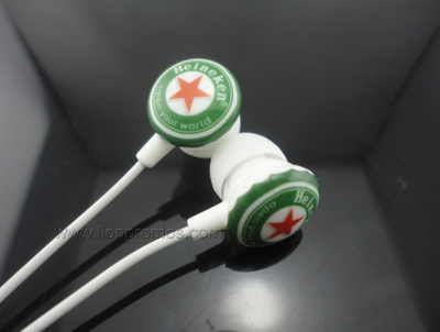 Heinken Beer Logo Promotional Gift In Ear Earphone for Mobile/ipad