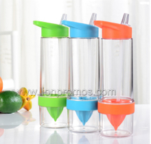 BPA Free Plastic Lemons Citrus Fruit Infuser Water Bottle With Straw
