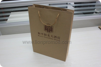 Hotel Custom Logo Kraft Paper Shopping Bag