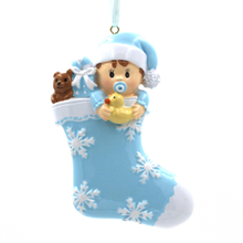 Baby With Stocking Ornament Personalized Christmas Tree Ornament