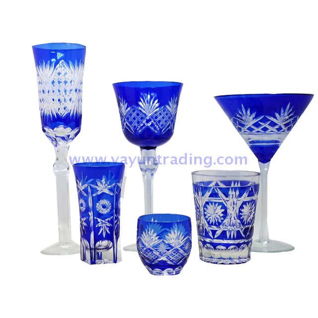 cobalt blue glass tumbler and wine glass