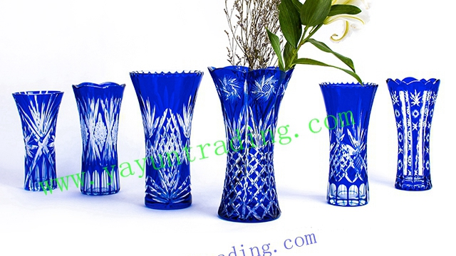 hand cut Bohemian cobalt blue large floral glass flower vase