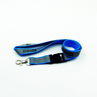 Shinny two layer blue reflective lanyards with metal hook for safety
