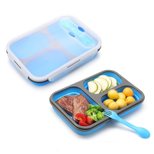 2017 FDA & LFGB Food Grade Kitchen Silicone Rubber Foldable Lunch Box with 3 Compartments And Cutlery