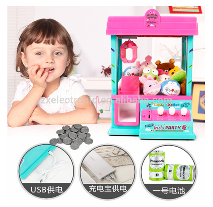 Mini toy grabbing machine crane claw machine with light and music for kids