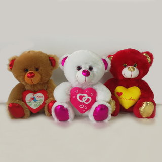 8inch Three Color Valentine Bears with Red in Hand