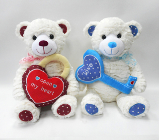 Sitting Design Plush Couple Teddy Bears Toys with Embroidered Red Heart