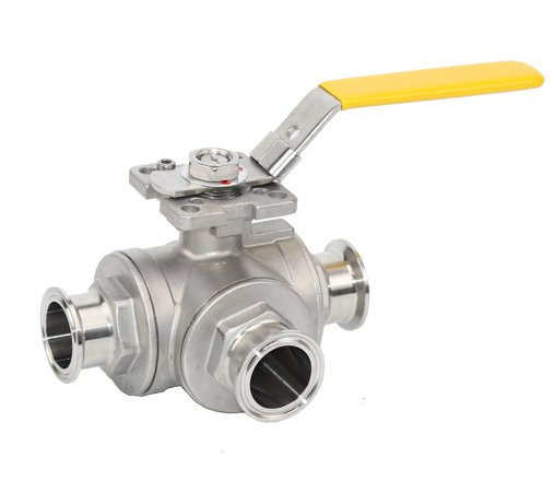 Stainless Steel 3Way Clamp Ball Valve with Pad