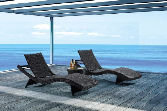 Garden Rattan/Wicker Wave Sun Lounge Set for Outdoor Furniture