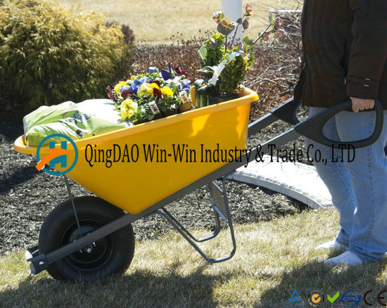 8 Cubic Foot Poly Wheelbarrow with Dual Wheels